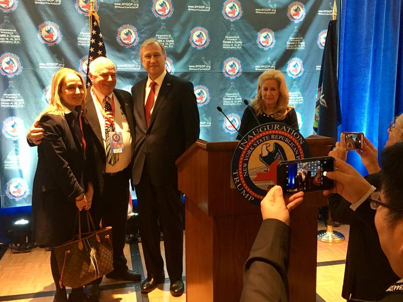 New York GOP chairman Ed Cox poses for photos after an inaugural breakfast in Washington, D.C.