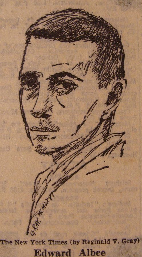 Drawing of Edward Albee in 1965 by Reginald Gray for the New York Times.