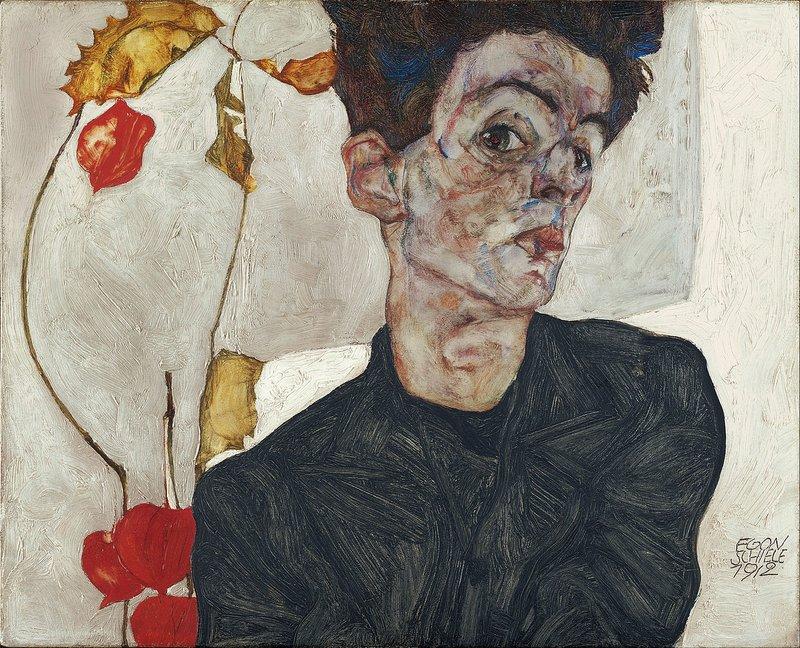 Egon Schiele, Self-Portrait with Physalis