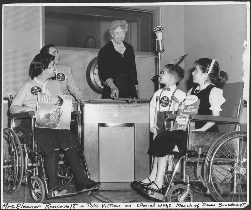 Eleanor Roosevelt deejays at WNYC for children afflicted with polio, February 6, 1957.