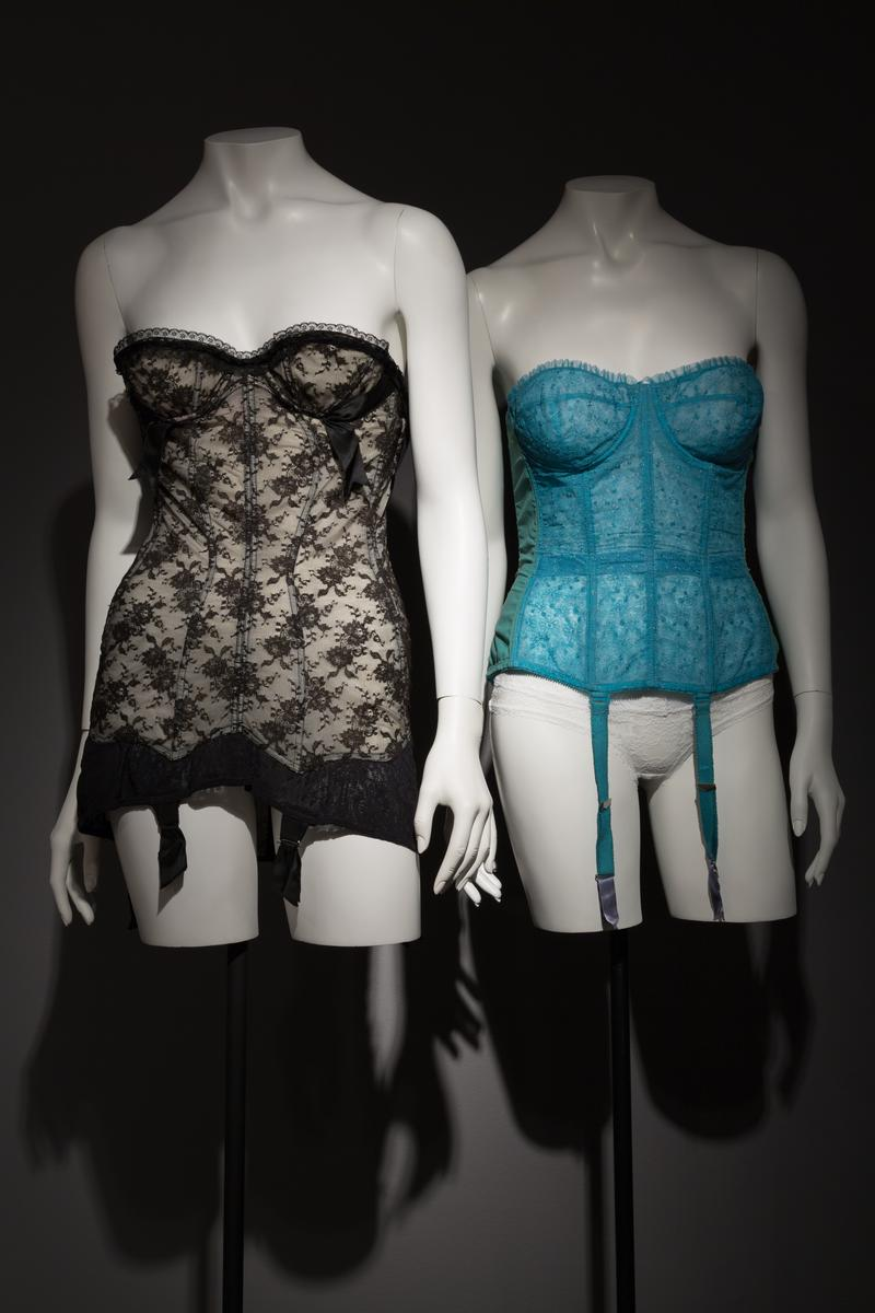 "A mid-1950s corselet by Marie-Rose Legibot for Lily of France (left) and a late 1950s ""Merry Widow"" corset by Warner's"