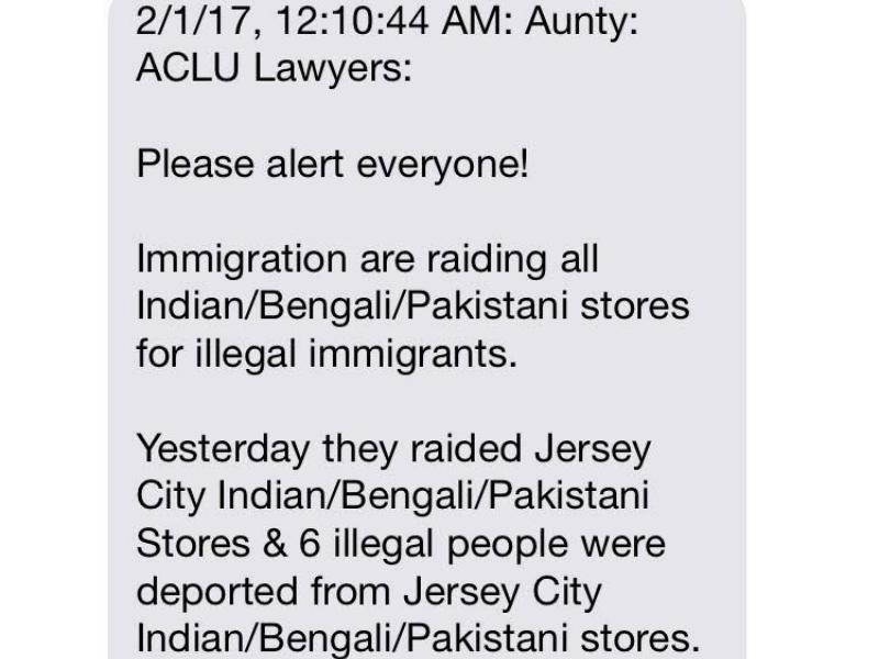 Fake alerts like this have been spreading through immigrant communities
