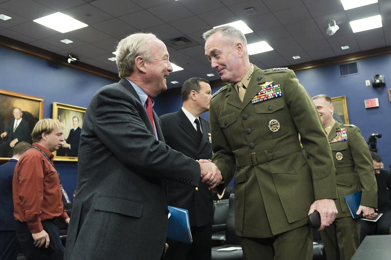 Rep. Rodney Frelinghuysen greets U.S. Marine Gen. Joseph F. Dunford Jr., chairman of the Joint Chiefs of Staff, at a budget hearing earlier this year.