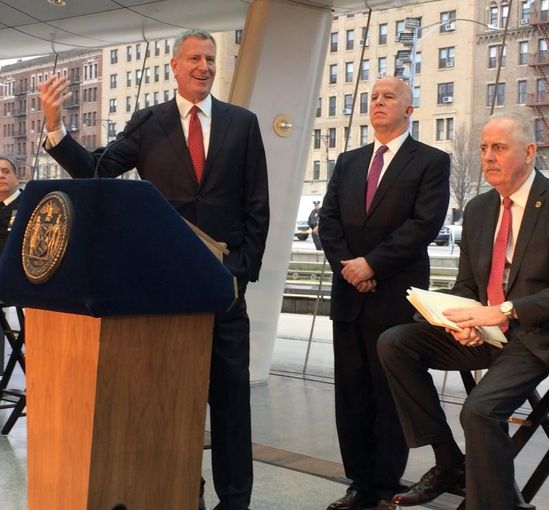 Mayor Bill de Blasio, NYPD Commissioner James O'Neill and Chief of Detectives Robert Boyce at year-end crime briefing