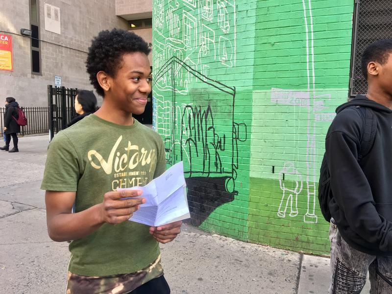 Eight grade student Donovan Gonzalez, 14, got an offer letter to his top pick high school, Manhattan Business Academy. (Sarah Gonzalez/WNYC)
