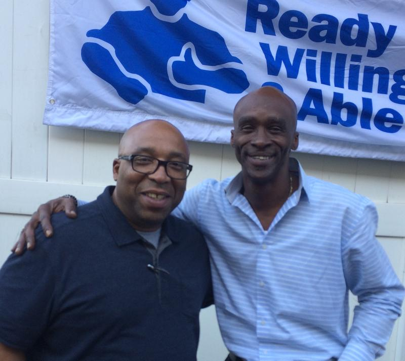 Carlos Jones and his friend Terrance Coffie at a barbecue and voter  registration drive held by The Doe Fund