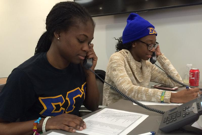 Anna Henebeng and Sakinah Benjamin make get-out-the-vote calls for the nonpartisan group NYC Votes, part of the City Campaign Finance Board.