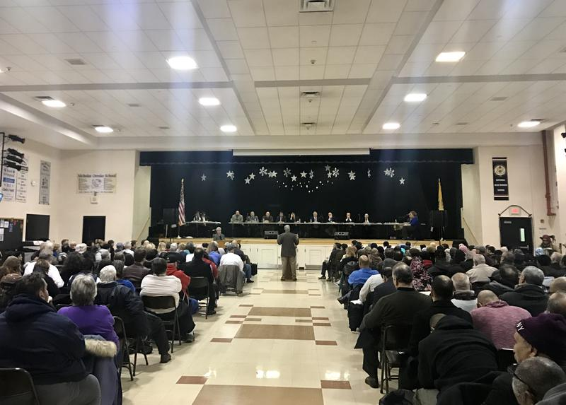 The zoning board in Bayonne, NJ, holds a public hearing on a proposed mosque on Jan. 23, 2017.