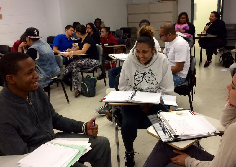Khary Douglas (left) and Lesleyann Roman in a remedial English class at the CUNY Start program at Hostos Community College