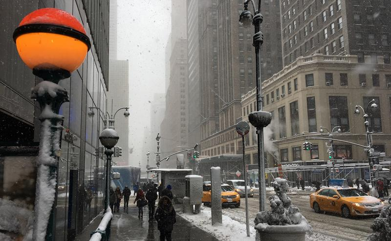 A beacon in the blizzard, in 42nd Street.