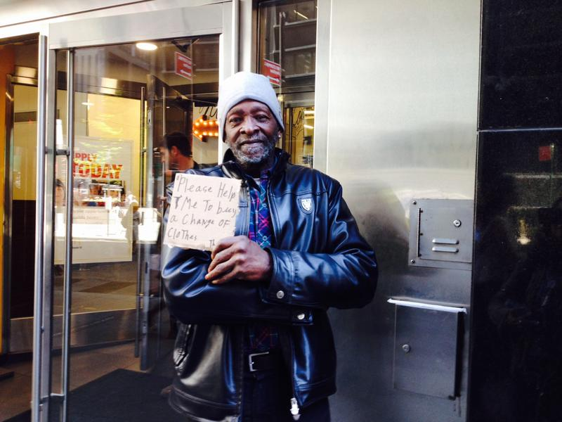 Irrae Davis often gets arrested for panhandling outside this lower  Manhattan McDonalds.