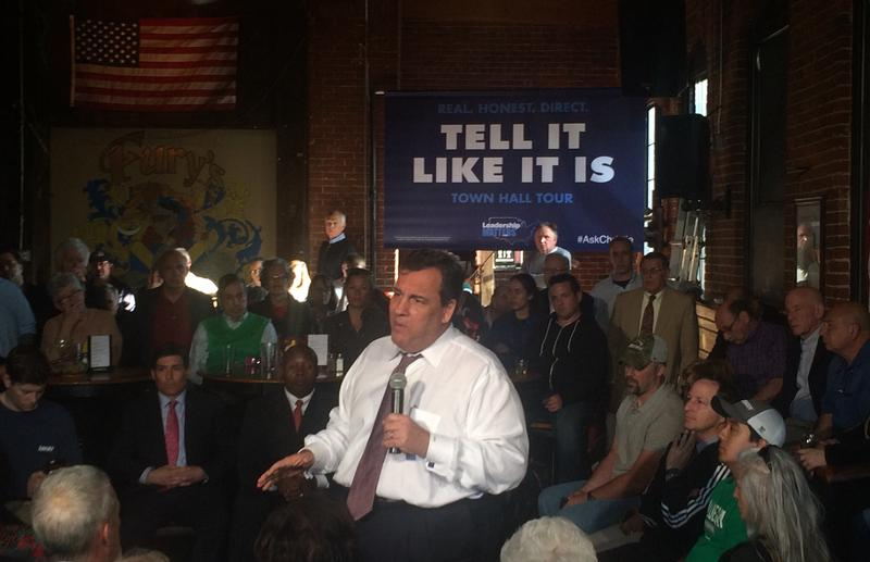 "Gov. Chris Christie holding his ""Tell It Like It Is"" Town Hall meeting at a bar in Dover, NH."