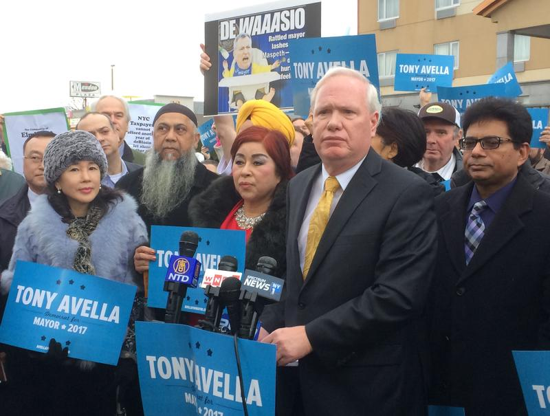 Democratic State Senator Tony Avella launched his 2017 mayoral bid against Mayor de Blasio in Maspeth, Queens