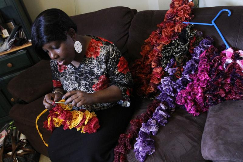 Jean Williams crocheted scarves to occupy her time while she was on medical leave from work last winter. It helped to distract her from the side effects of her chemotherapy treatments.
