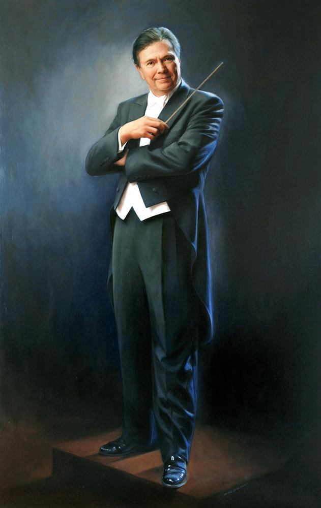 """Portrait painting of Gerard Schwarz painted by artist Michele Rushworth, oil on canvas, 80"""" x 50"""", Benaroya Hall, Seattle."""