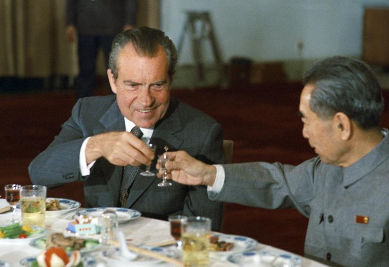 President Richard Nixon (USA) toasts Zhou Enlai the Chinese Prime Minister during a state banquet in Beijing in 1972.