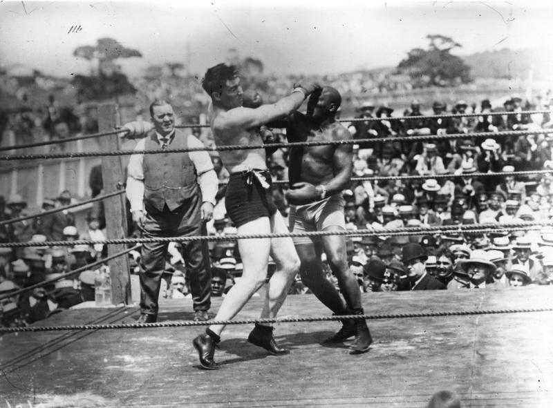 Jack Johnson, right, of the USA, world heavyweight title holder since 1908, in action against Jess Willard of the USA at Havana, Cuba in 1915.