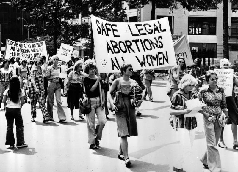 Women taking part in a demonstration in New York demanding safe legal abortions for all women.