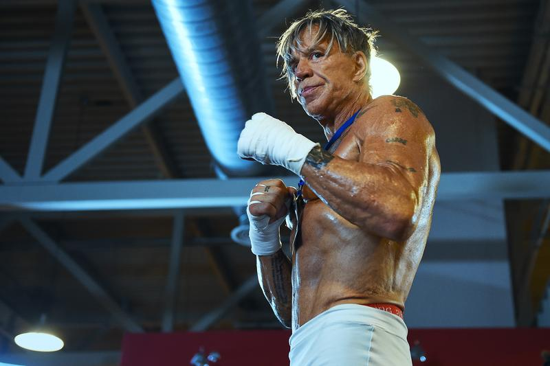 Mickey Rourke training in the boxing ring in Moscow, Russia.