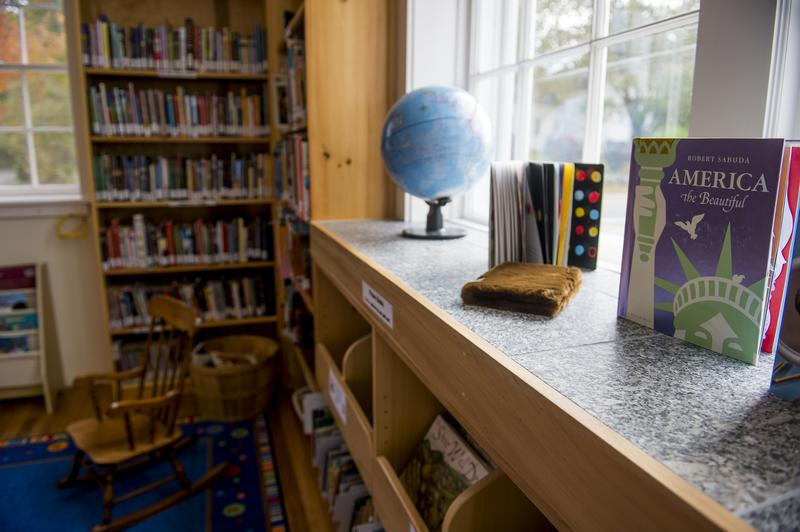 Books sit on the shelves at the new library on October 14, 2013 in Lincolnville, Maine.