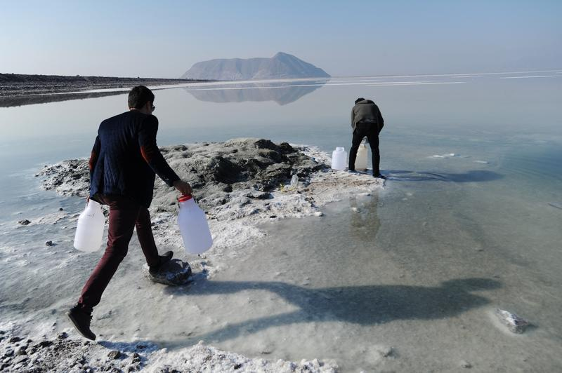 Iranian university students collect water samples from Iran's shrinking Lake Urmieh, which presents a risk of salt storms and future health and environmental problems. January 23, 2015