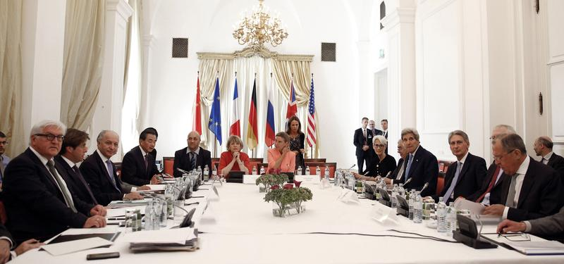 Foreign ministers from major powers began crunch talks in Vienna on Monday seeking to seal a historic nuclear deal to end a 13-year standoff, one day before a final deadline, officials said.