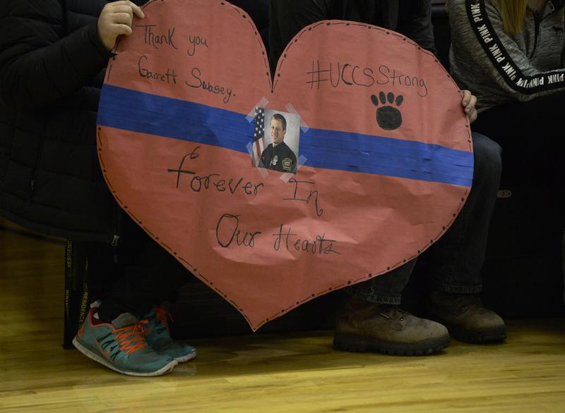 A vigil at the University of Colorado at Colorado Springs for UCCS police officer Garrett Swasey who was shot and killed at the Colorado Springs Planned Parenthood clinic on November 27, 2015