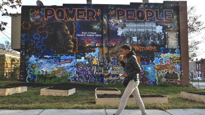 A mural honoring the people of West Baltimore has been painted near the area where Freddie Gray was arrested in the Sandtown-Winchester neighborhood on Thursday, November 12, 2015, in Baltimore, MD.