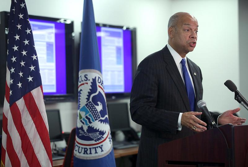 Secretary of Homeland Security Jeh Johnson discusses updates to the National Terrorism Advisory System in December 2015.