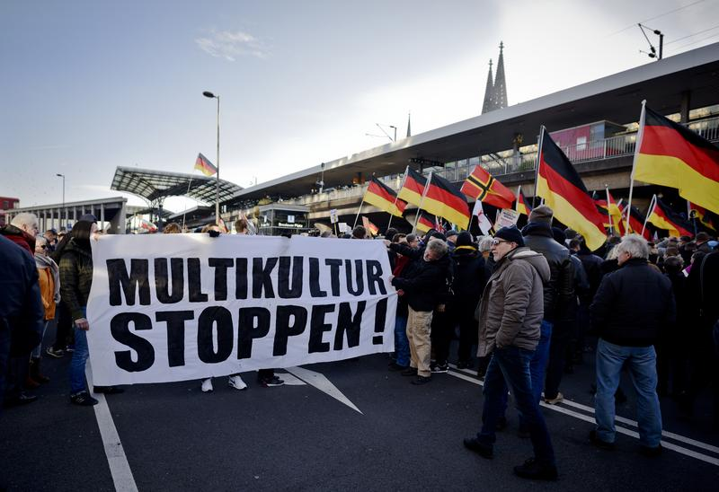 Right-wing groups gather in Cologne, Germany on January 9th to protest against the New Year's Eve sexaul assaults.