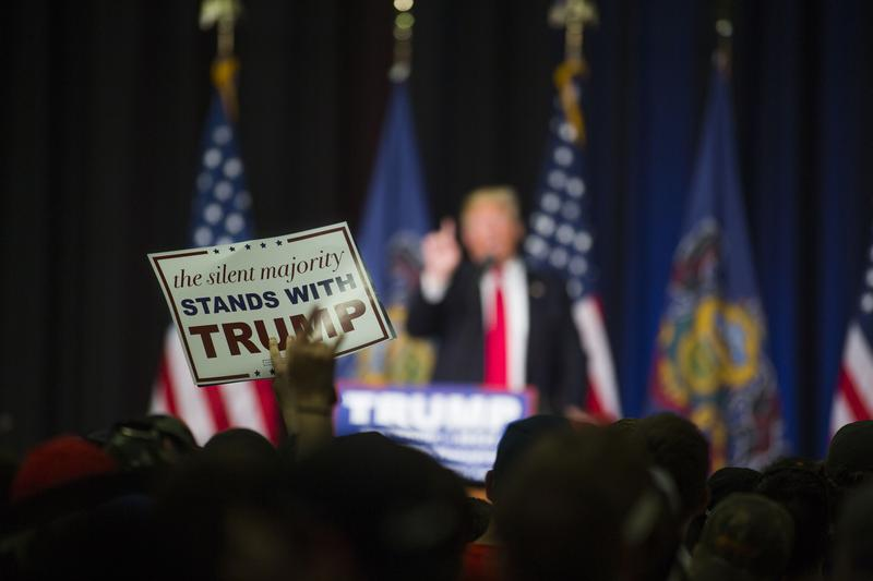 Donald Trump speaks at a campaign rally Monday at West Chester University in West Chester, PA.