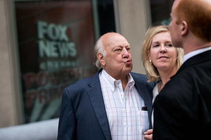 Former Fox News chairman Roger Ailes in front of the News Corp building in New York City.