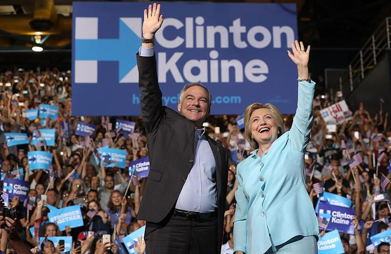 emocratic presidential candidate Hillary Clinton and U.S. Sen. Tim Kaine (D-VA) greet supporters ahead of the Democratic National Convention.