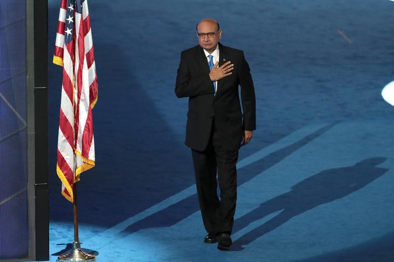 Following his speech on the fourth day of the Democratic National Convention, Khizr Khan walks off the stage at the Wells Fargo Center.