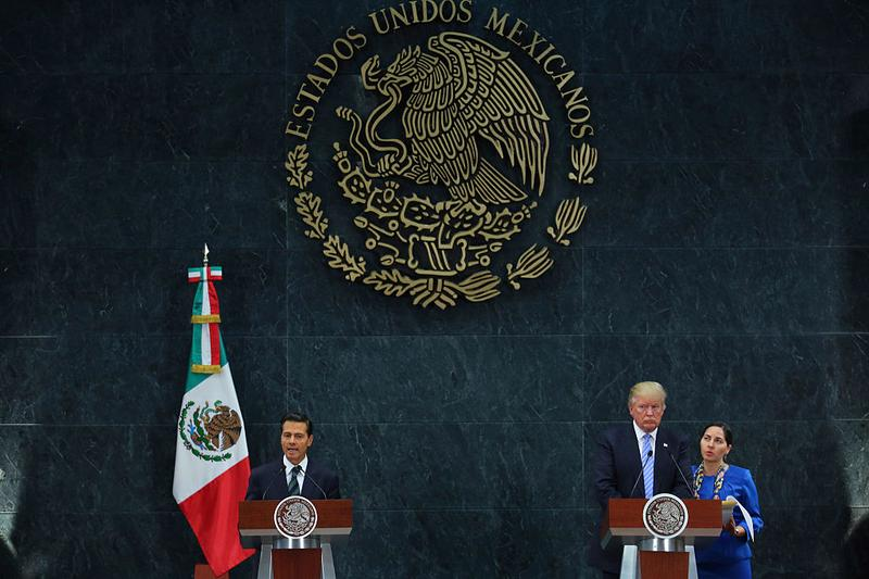 President of Mexico Enrique Pena Nieto and US Republican presidential candidate Donald Trump during a press conference at Los Pinos on August 31, 2016 in Mexico City, Mexico.