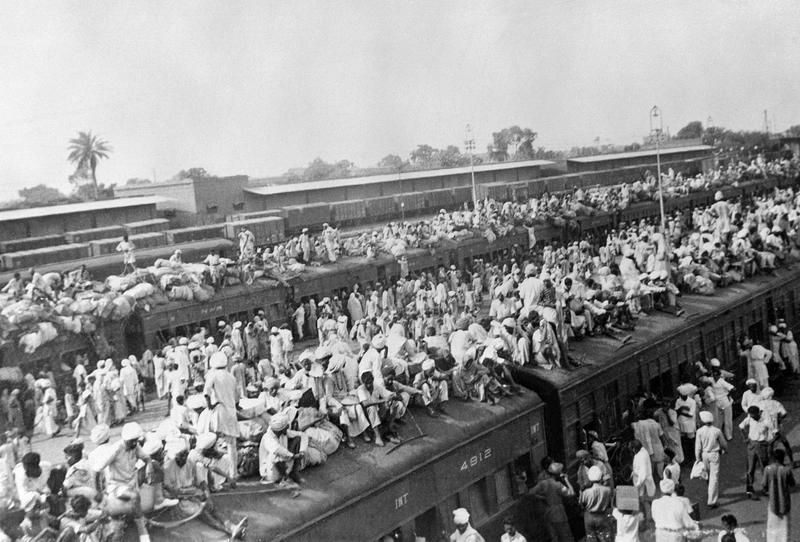October 1947. Wagons packed with Muslin refugees fleeing to Pakistan while Indus fled to India by train in the border city of Amritsar between the two countries at the start of the India-Pakistan War