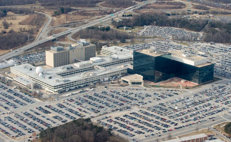 The National Security Agency (NSA) headquarters at Fort Meade, Maryland, as seen from the air, January 29, 2010.