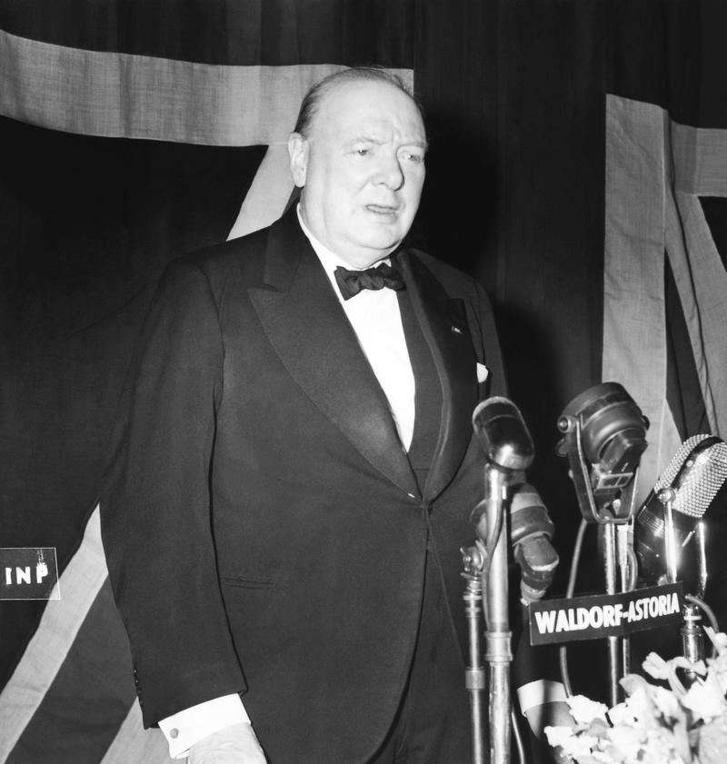 Winston Churchill speaks at a banquest in his honor at the Waldorf-Astoria, New York, New York, March 15, 1946.