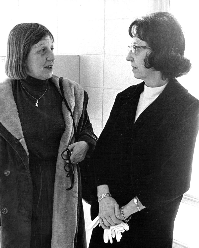 Visiting authors are a study in contrasts; Marguerite Young, left, and Evelyn Lincoln are as different as their books, October 21, 1965.