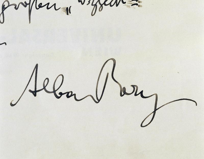 Signature of Composer Alban Berg
