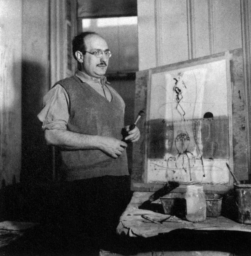 Mark Rothko (1903-1970) American painter abstracted here about 1944-1945.