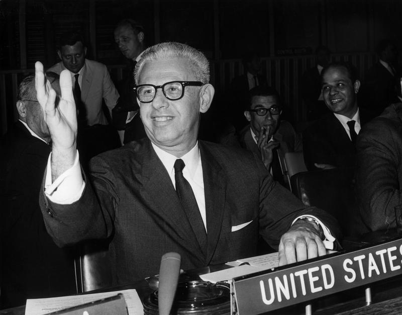 American politician Arthur Goldberg, US Ambassador to the United Nations, waving to his wife from his seat, in his first appearance at the UN, New York City in 1965.