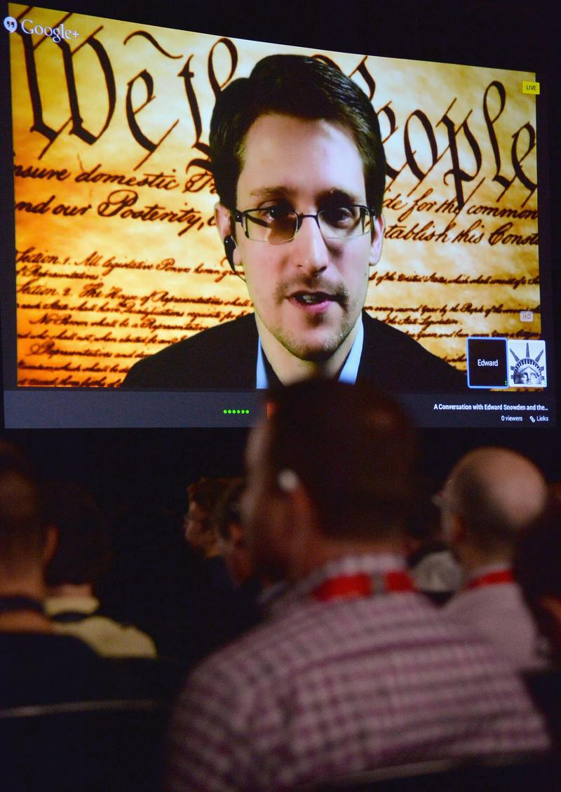 NSA whistleblower Edward Snowden speaks via videoconference during the 2014 SXSW Music, Film + Interactive Festival at the Austin Convention Center on March 10, 2014 in Austin, Texas.