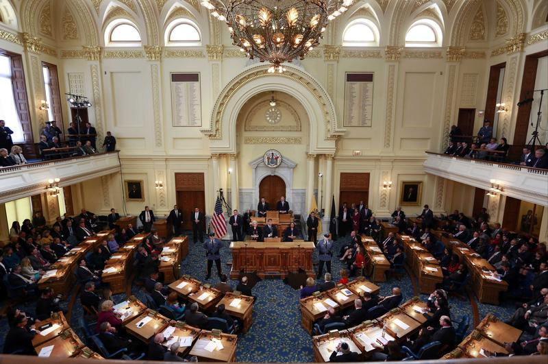 New Jersey Governor Chris Christie delivers his Fiscal Year 2016 Budget Address to the Legislature on Tuesday, Feb. 24, 2015 in Trenton, NJ.
