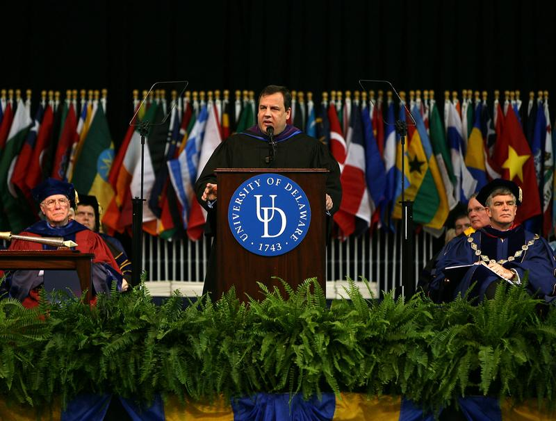 Governor Chris Christie delivers the Commencement Address at the Winter Commencement Ceremony for the University of Delaware in Newark, DE on Jan. 9, 2011.