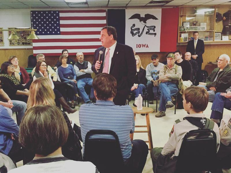 New Jersey Governor Chris Christie at Iowa town hall meeting, Nov. 11, 2015.