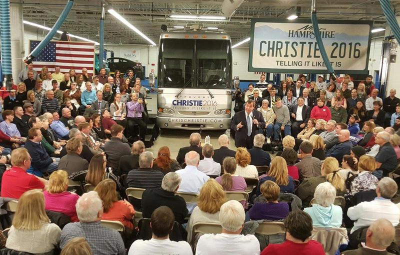 New Jersey Governor Chris Christie arrives in Nashua, New Hampshire, Feb. 1, 2016.