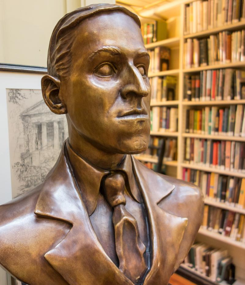 Bronze bust of H.P. Lovecraft at the Providence Athenaeum. Providence, Rhode Island.