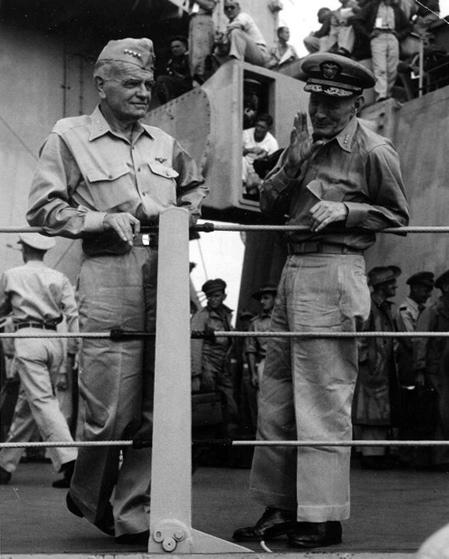 US Navy Admirals William Halsey (L) and John S. McCain, Sr. (R) on the USS Missouri shortly after the conclusion of the surrender ceremonies, 2 September 1945.