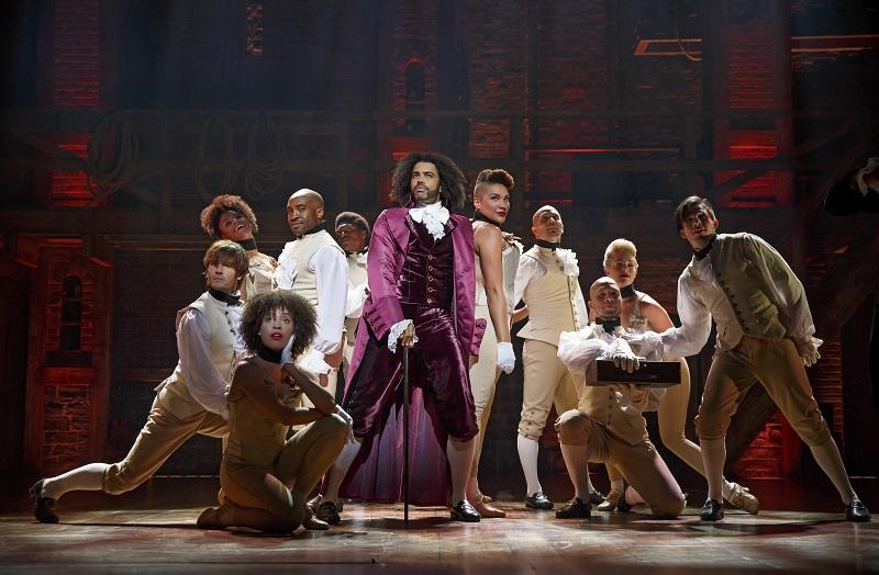 "Daveed Diggs (center) stars as Thomas Jefferson in the Broadway musical ""Hamilton"""